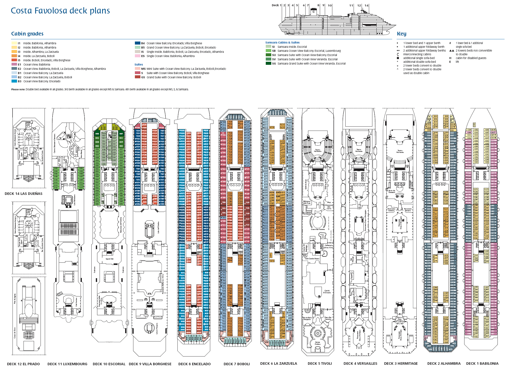 Rubina costa luminosa deck plans pictures to pin on for Deckplan costa diadema